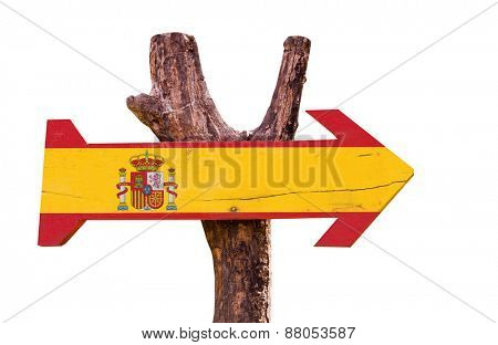 Spain Flag wooden sign isolated on white background