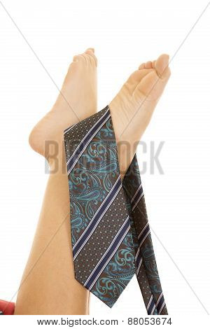 Woman Legs Up With Tie On Feet