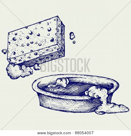 Sponge and bowl of water