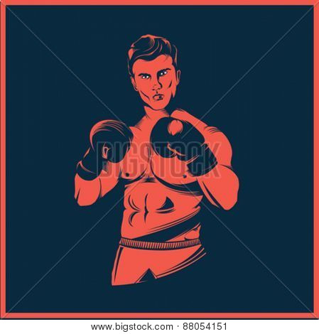 Digitally generated Vintage style boxer vector