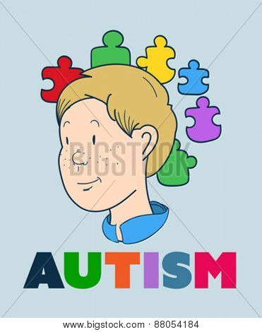 Digitally generated Autism vector with smiling boy