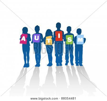 Digitally generated Autism vector with children holding letters