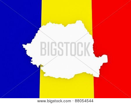Three-dimensional map of Romania. 3d