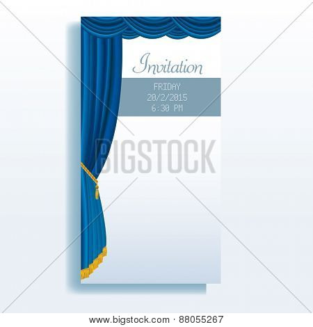vector layout of invitation card with blue stage curtain