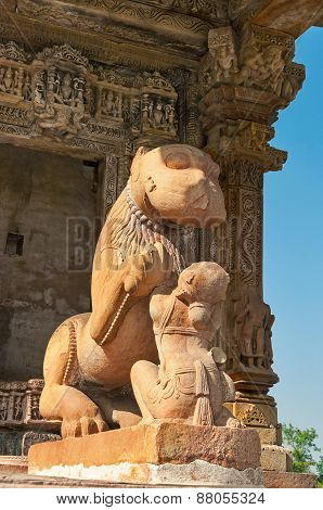 Sculpture Of Lion And Woman. Khajuraho
