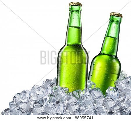Beer bottles on white background. File contains clipping paths.