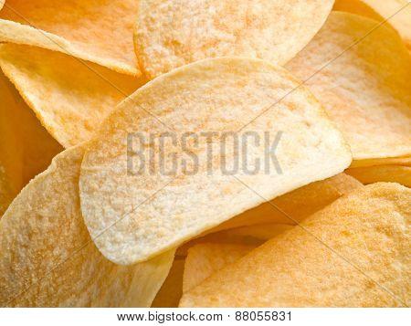 Potato chips. Food background.