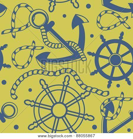 Seamless pattern with marine symbols
