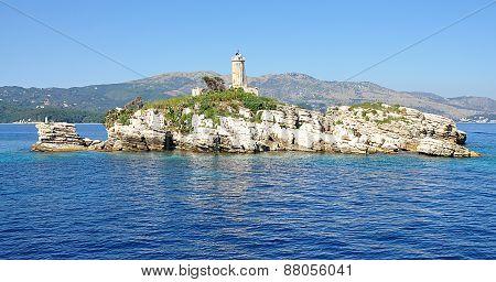 lighthouse in the sea, Corfu, Greece, Europe