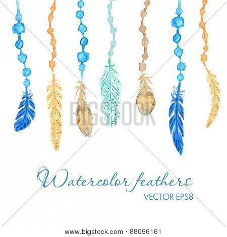 Set of ethnic multicolored feathers. Ethnic illustration in native style. Dream catcher background