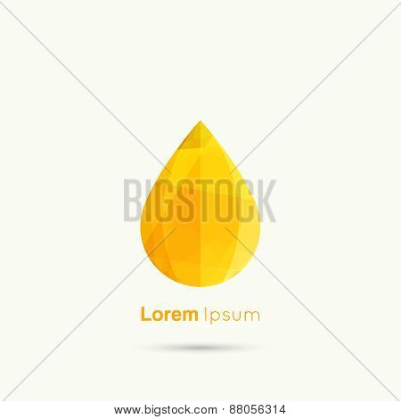 Yellow Water drop abstract