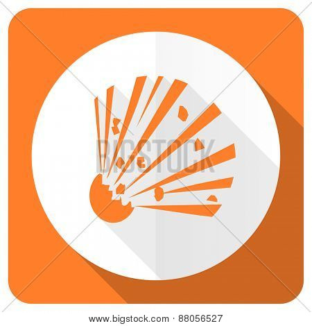 bomb orange flat icon