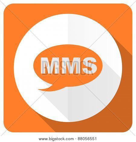 mms orange flat icon message sign
