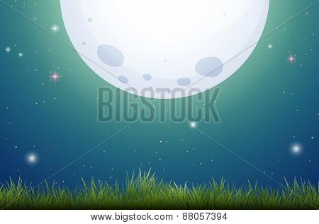 Bright full moon scene with grass field