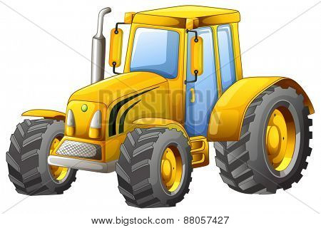 Close up classic yellow tractor