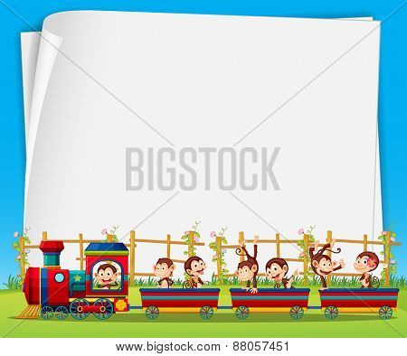 Banner with monkeys riding on the train background