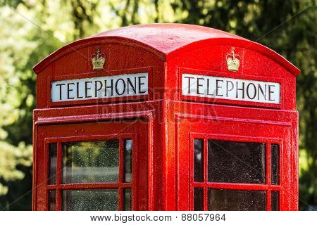 The Iconic Red Telephone Box In United Kingdom