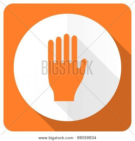 stop orange flat icon hand sign