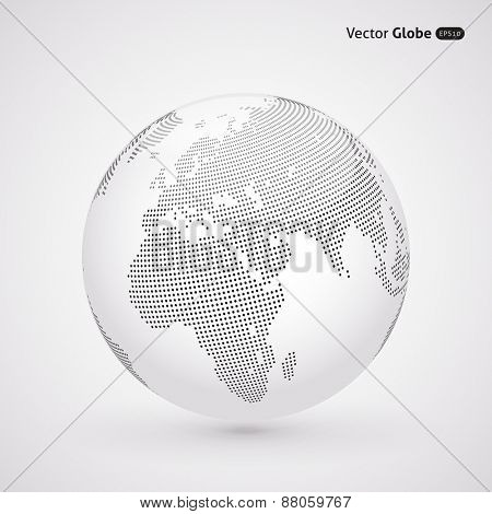 Vector dotted light globe, view on Europe and Africa