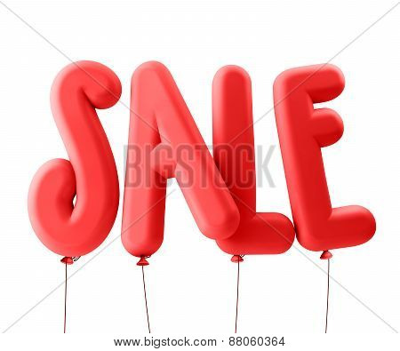 3D Rendered Illustration of Red Sale Word Title Balloons