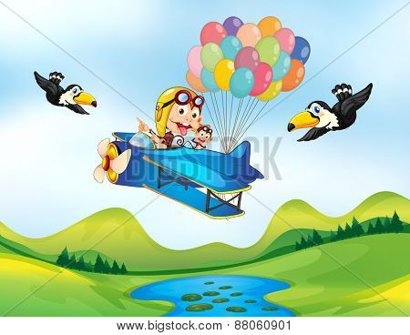 Monkey flying helicopter with balloons in the back