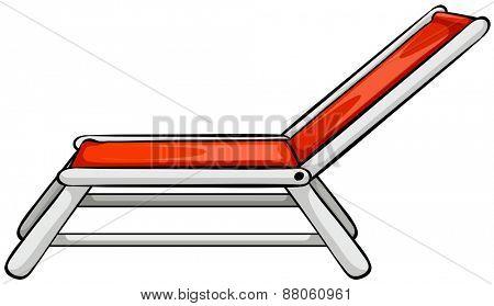 Close up red beach chair