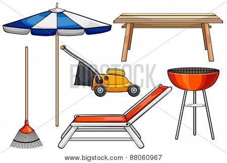Different objects used for outdoor purposes