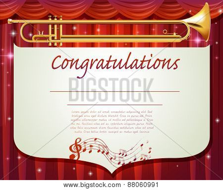 Certificate with musical instrument background
