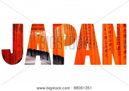 Word KYOTO over Fushimi Inari Taisha Shrine