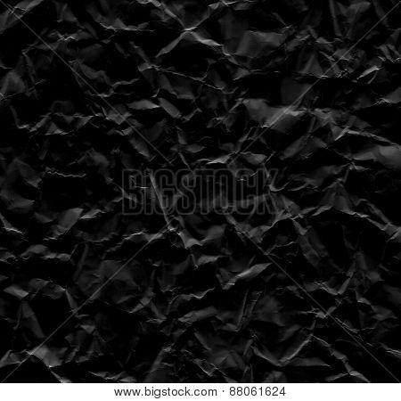 Black Wrinkled Paper Background Texture
