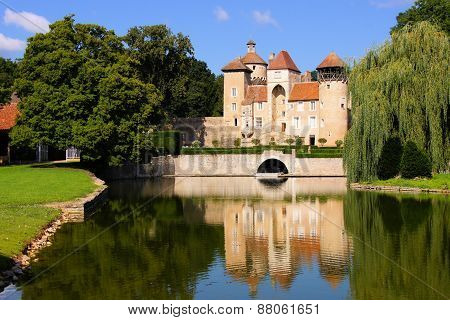 Castle with reflections,Burgundy, France