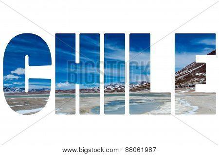 Word Chile Over Snow Desert.