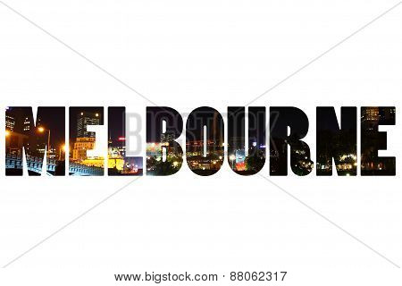 Word Melbourne Over City Symbols.