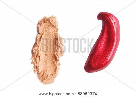 makeup strokes color isolated on white