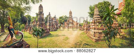 Buddha statue in Wat Cherng Tha. Ayutthaya historical park. Panorama
