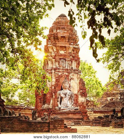 Buddha statue in Wat Mahatat. Ayutthaya historical park.