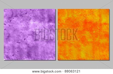 Set of 2  bright watercolor backgrounds