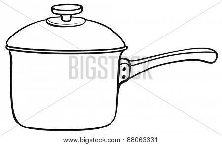 Close up one cooking pot with lid