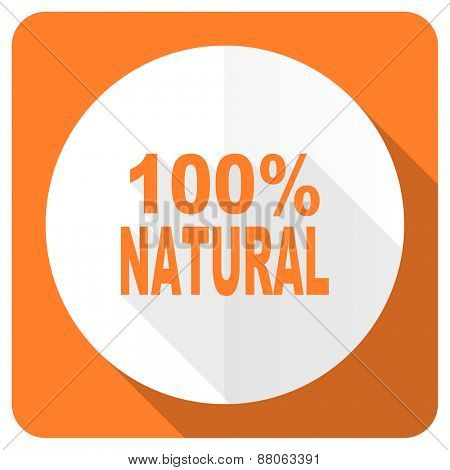 natural orange flat icon 100 percent natural sign