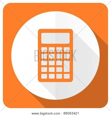 calculator orange flat icon