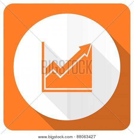 histogram orange flat icon stock sign