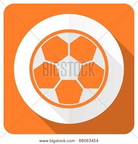 soccer orange flat icon football sign