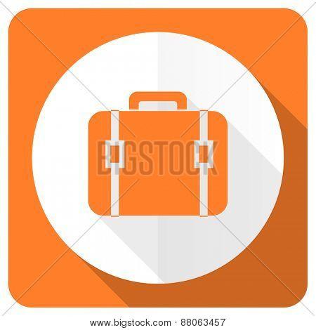 bag orange flat icon luggage sign