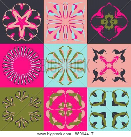 Set of 9 abstract floral elements or seamless pattern