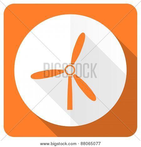 windmill orange flat icon renewable energy sign