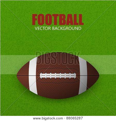 Football Ball On A Grass Field. Vector Background.