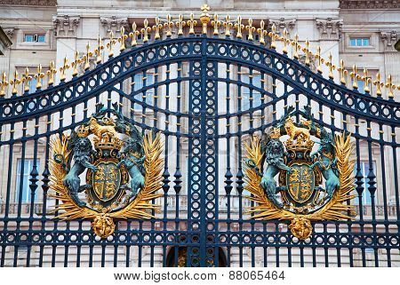 LONDON - DECEMBER 23: Gate of Buckingham palace on December 23, 2014 in London U.K. Buckingham palace is the official residence of Queen Elizabeth II and one of the major tourist destinations U.K.