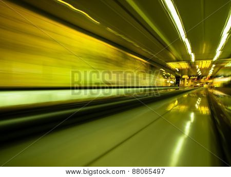 Long Exposure Shot In A Moving Walkway