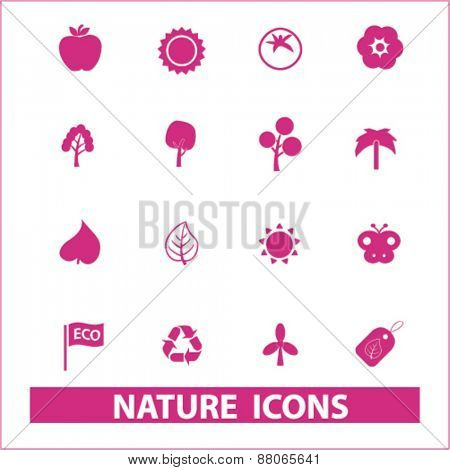 nature icons set, vector