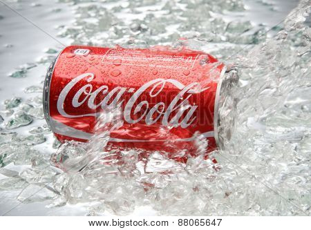 kuala Lumpur,Malaysia 15th April 2015,Editorial photo of Classic Coca-Cola  in crushed ice.